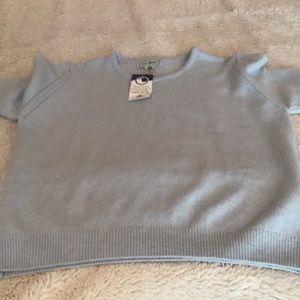 NWT!LL Bean washable wool short sleeved Light blue